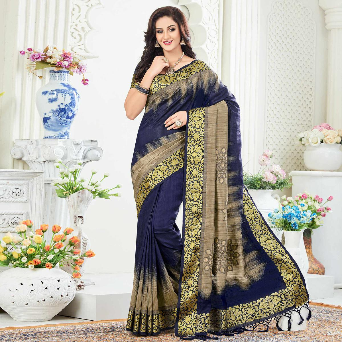 Marvellous Navy Blue Festive Wear Woven Raw Silk Saree