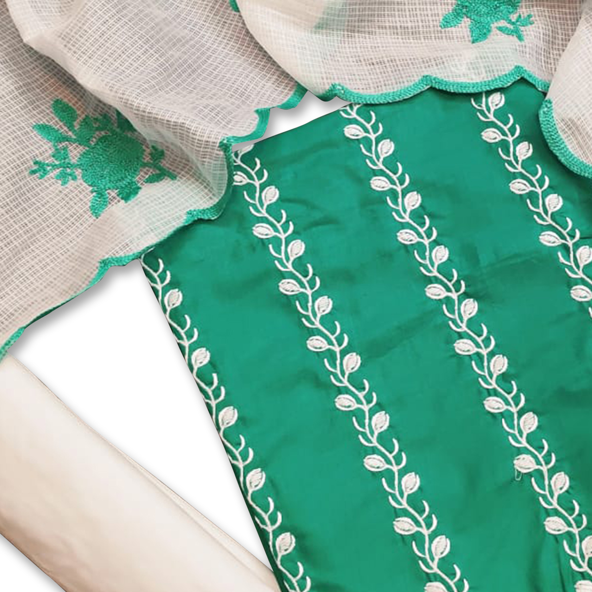 Desirable Green Colored Casual Wear Embroidered Cotton Dress Material