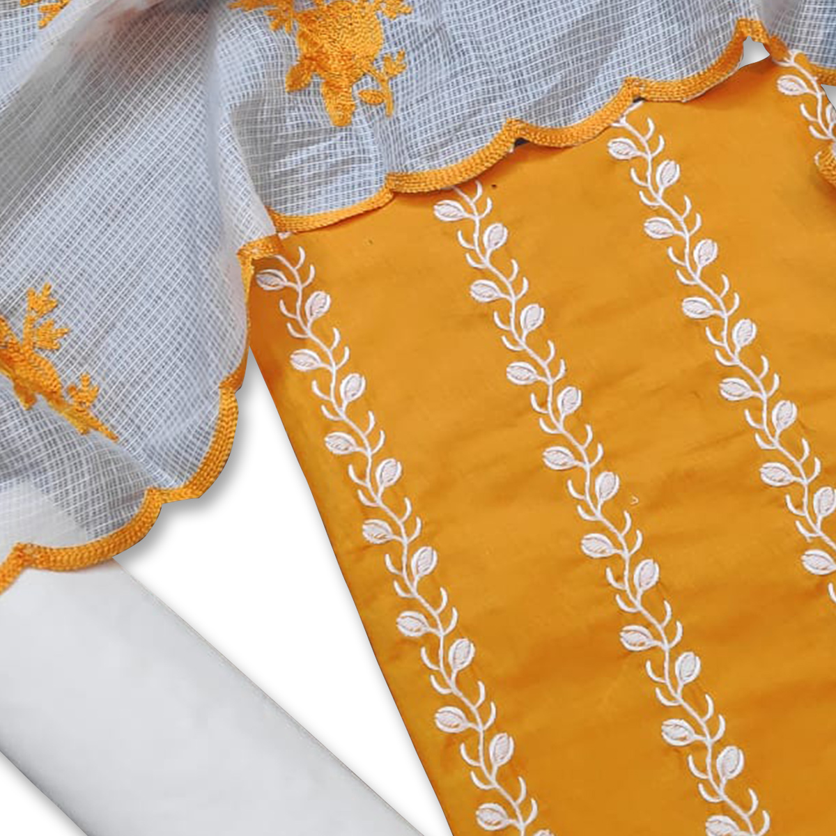 Elegant Yellow Colored Casual Wear Embroidered Cotton Dress Material