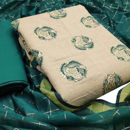Imposing Beige-Green Colored Casual Wear Printed Cotton Dess Material