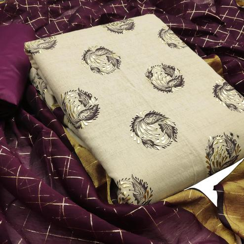 Lovely Beige-Purple Colored Casual Wear Printed Cotton Dess Material