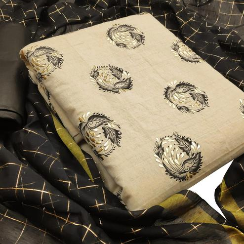Impressive Beige-Black Colored Casual Wear Printed Cotton Dess Material