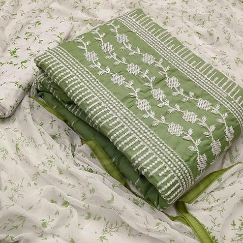 Amazing Green Colored Casual Wear Embroidered Cotton Dress Material