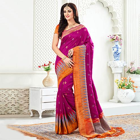 Arresting Rani Pink Festive Wear Woven Raw Silk Saree