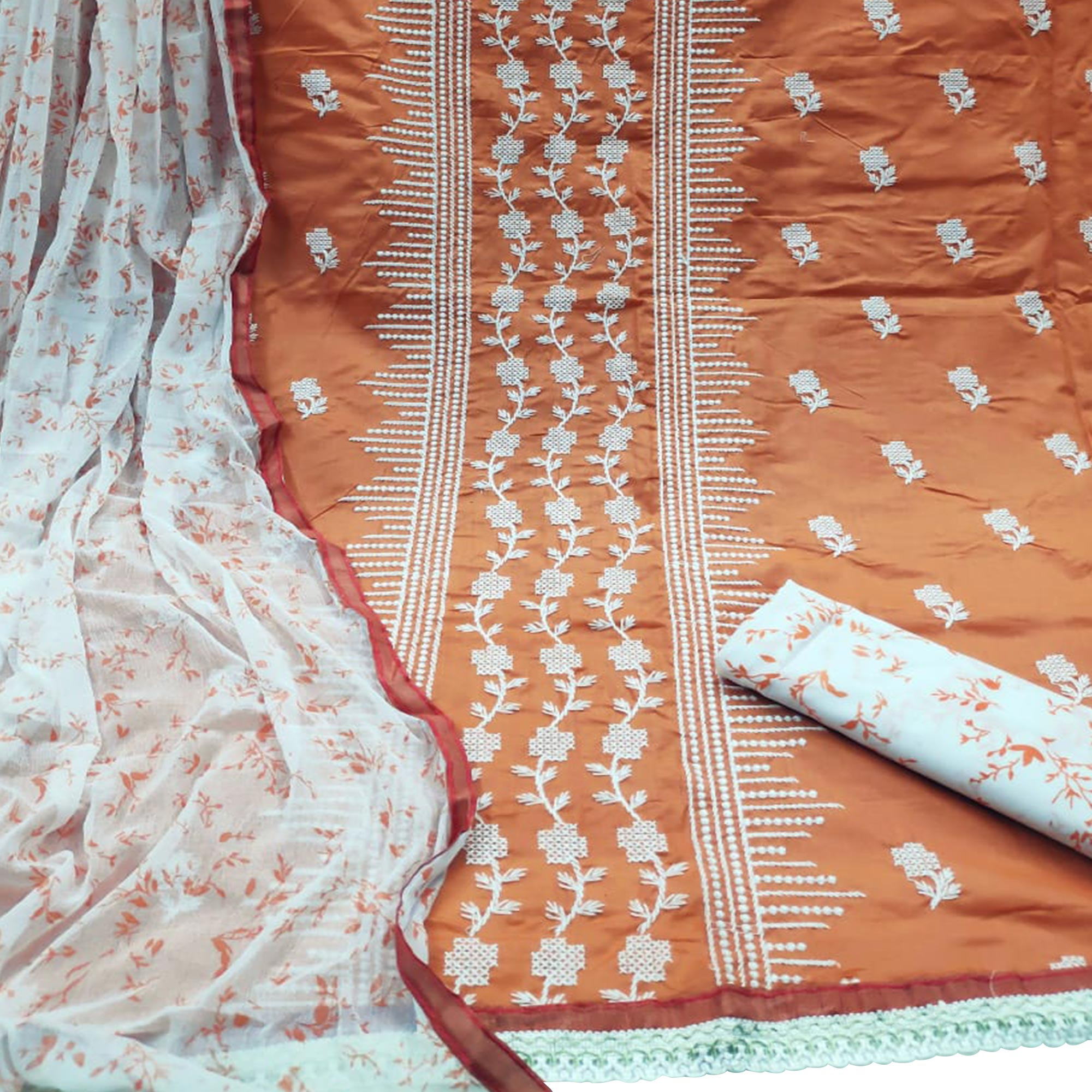 Gorgeous Orange Colored Casual Wear Embroidered Cotton Dress Material