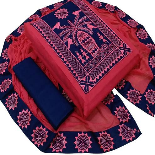 Gleaming Red Colored Casual Wear Embroidered Cotton Slub Dress Material