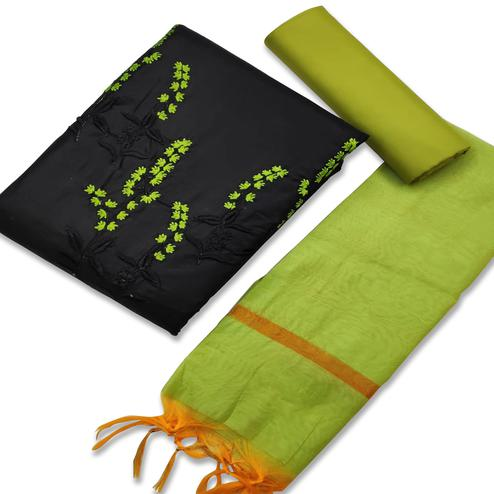 Excellent Black-Green Colored Casual Wear Embroidered Cotton Dress Material