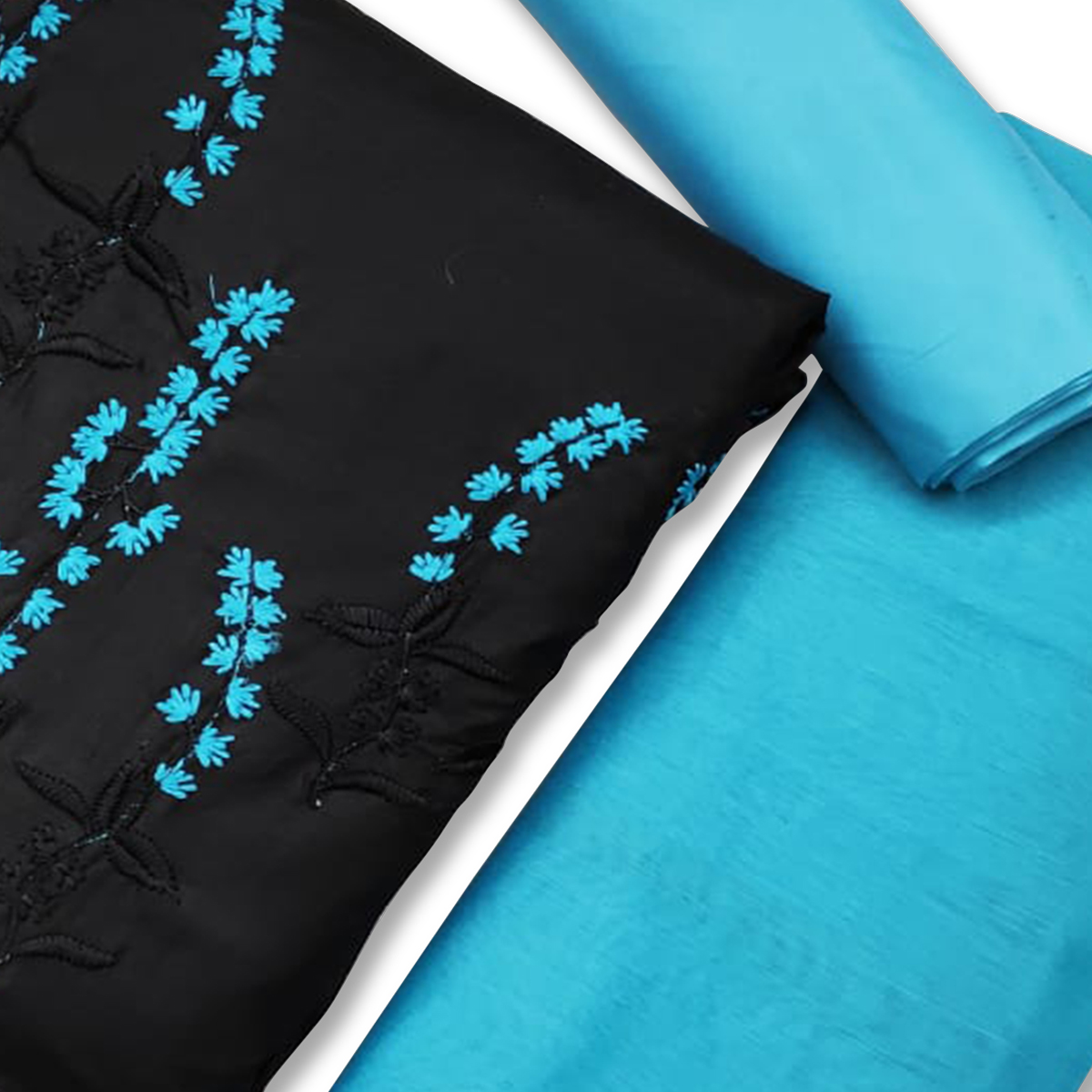 Marvellous Black-Blue Colored Casual Wear Embroidered Cotton Dress Material