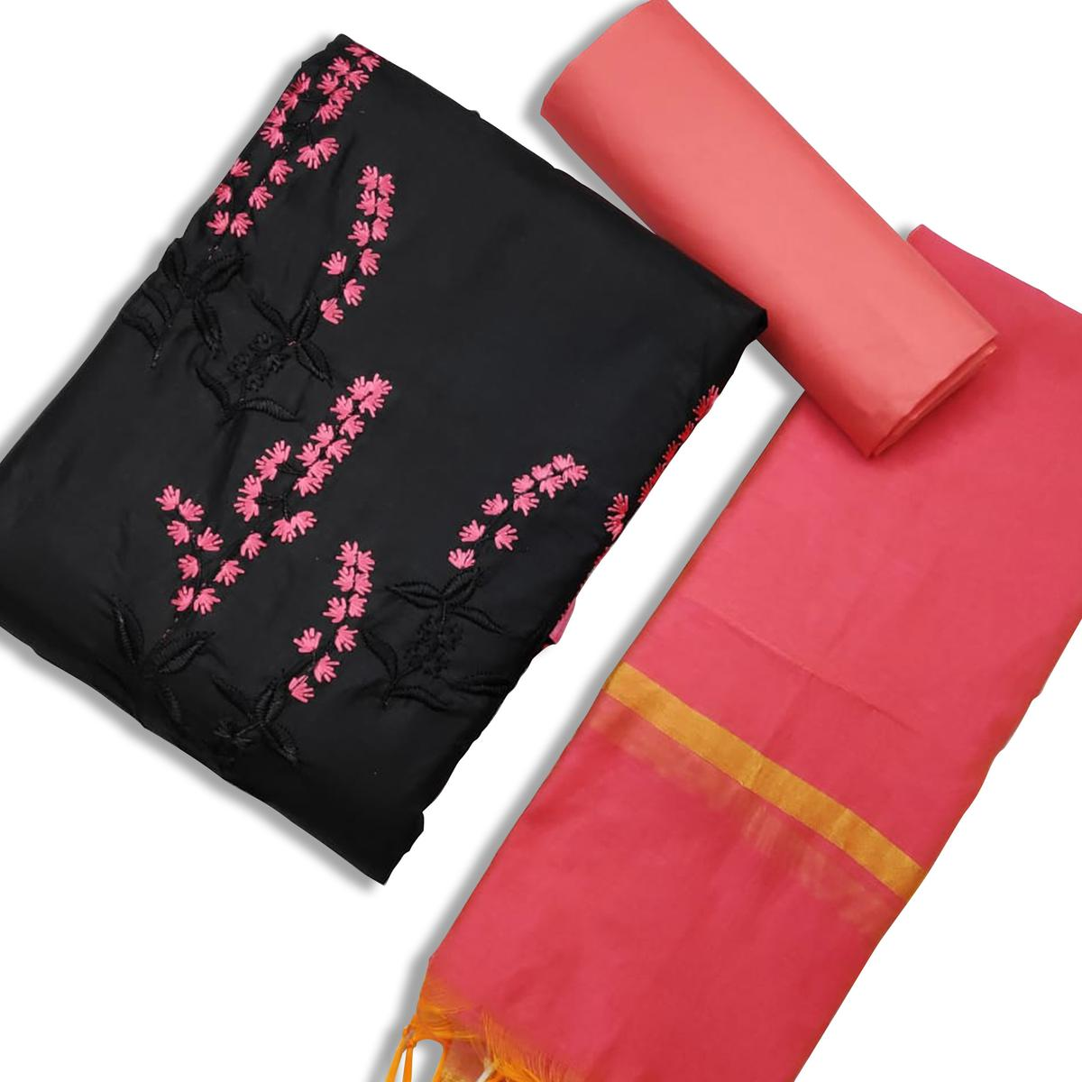 Pretty Black-Pink Colored Casual Wear Embroidered Cotton Dress Material
