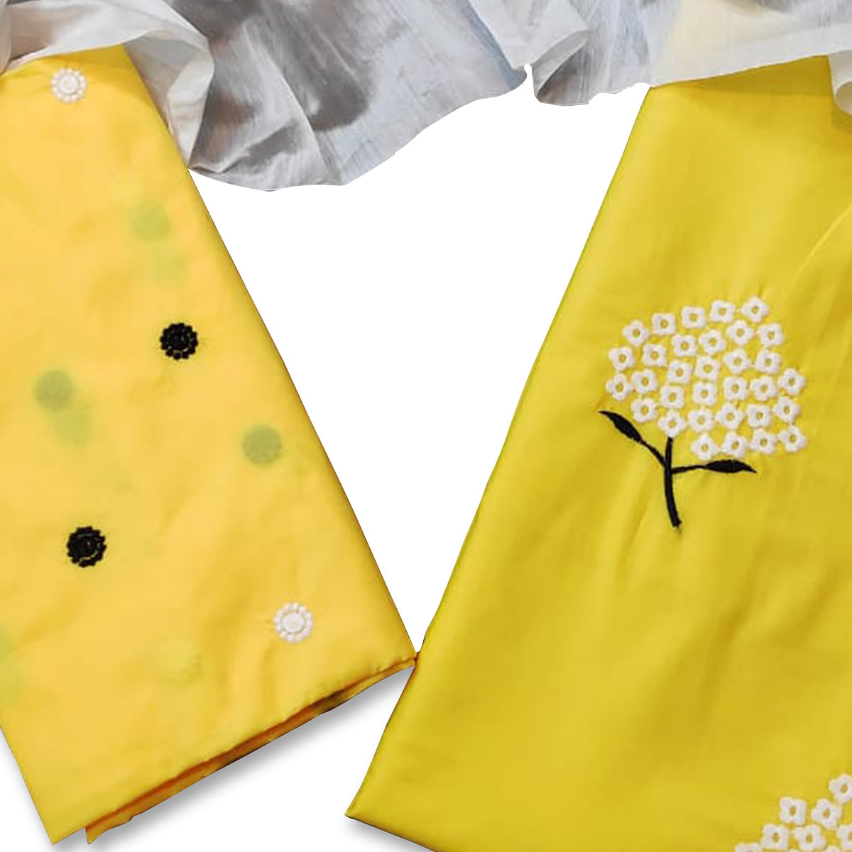 Delightful Yellow Colored Casual Wear Embroidered Cotton Dress Material