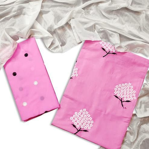 Captivating Pink Colored Casual Wear Embroidered Cotton Dress Material