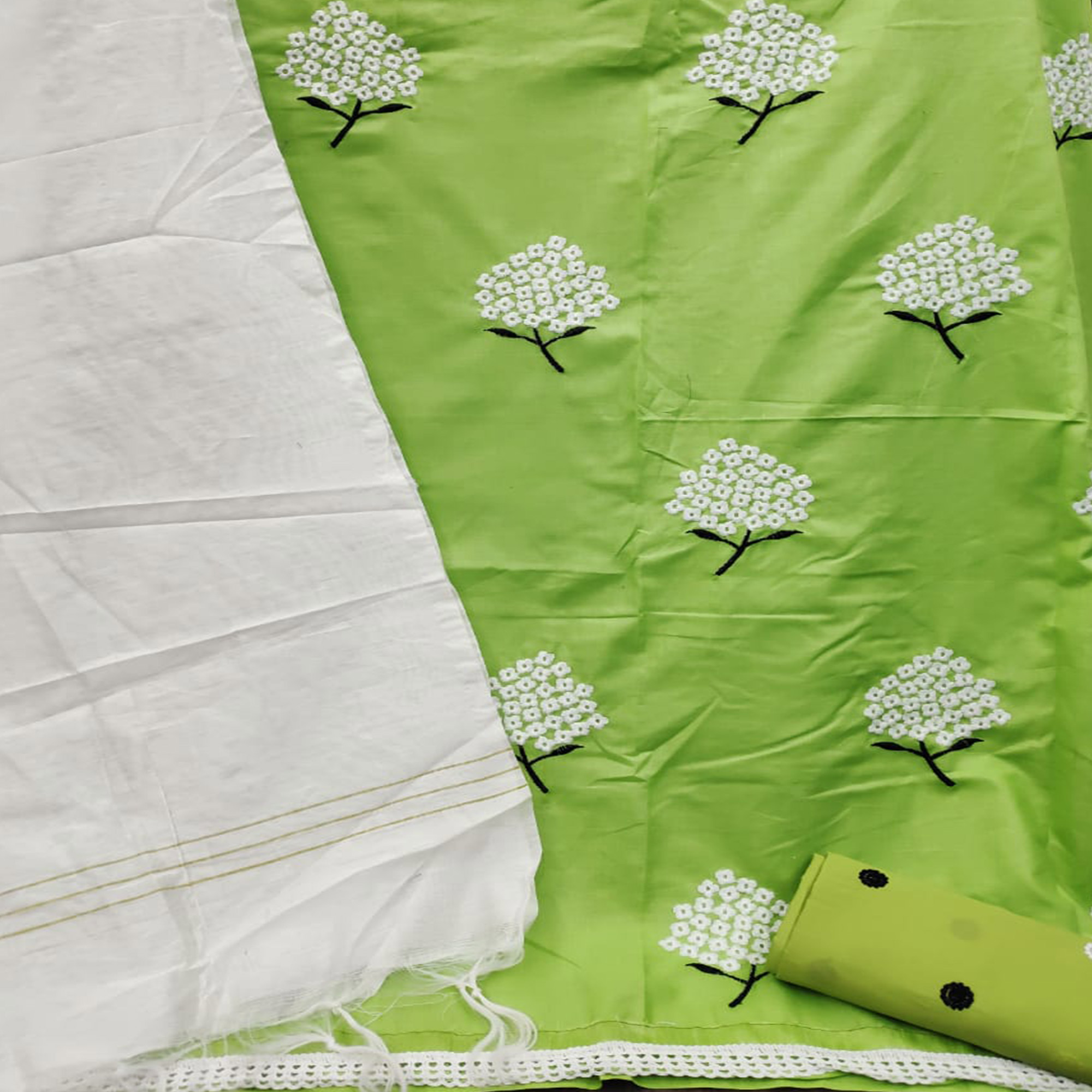 Innovative Green Colored Casual Wear Embroidered Cotton Dress Material
