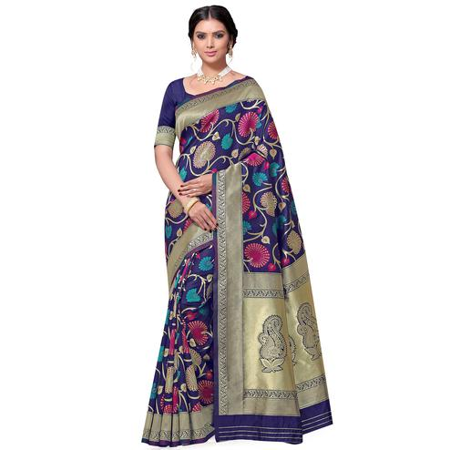 Adorable Navy Blue Colored Festive Wear Floral Woven Kota Lichi Banarasi Silk Saree