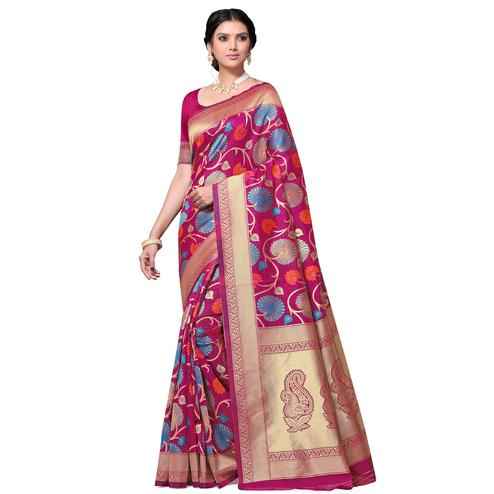 Attractive Pink Colored Festive Wear Floral Woven Kota Lichi Banarasi Silk Saree