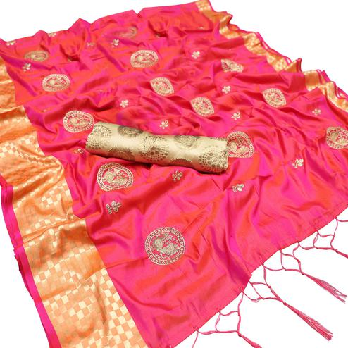 Mesmeric Pink Colored Party Wear Embroidered Nylon Sana Silk Saree With Tassels