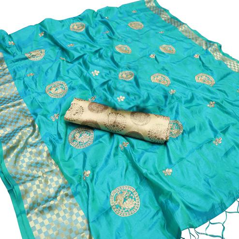 Magnetic Blue Colored Party Wear Embroidered Nylon Sana Silk Saree With Tassels