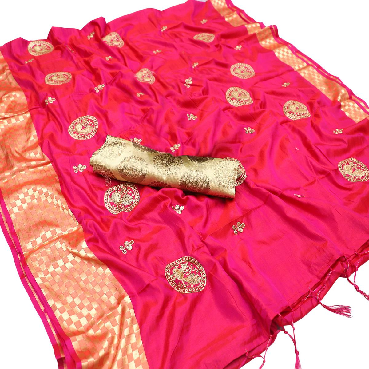 Hypnotic Hot Pink Colored Party Wear Embroidered Nylon Sana Silk Saree With Tassels