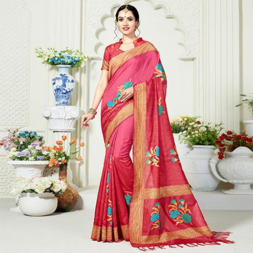 Spectacular Peach Festive Wear Woven Raw Silk Saree