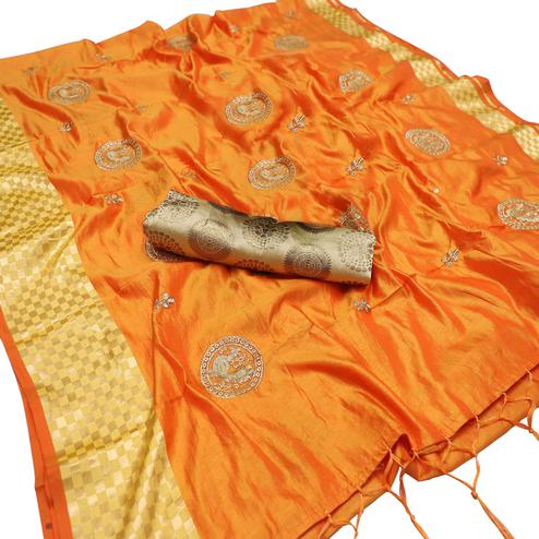 Flattering Light Orange Colored Party Wear Embroidered Nylon Sana Silk Saree With Tassels
