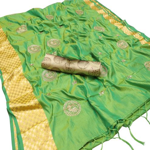 Excellent Green Colored Party Wear Embroidered Nylon Sana Silk Saree With Tassels