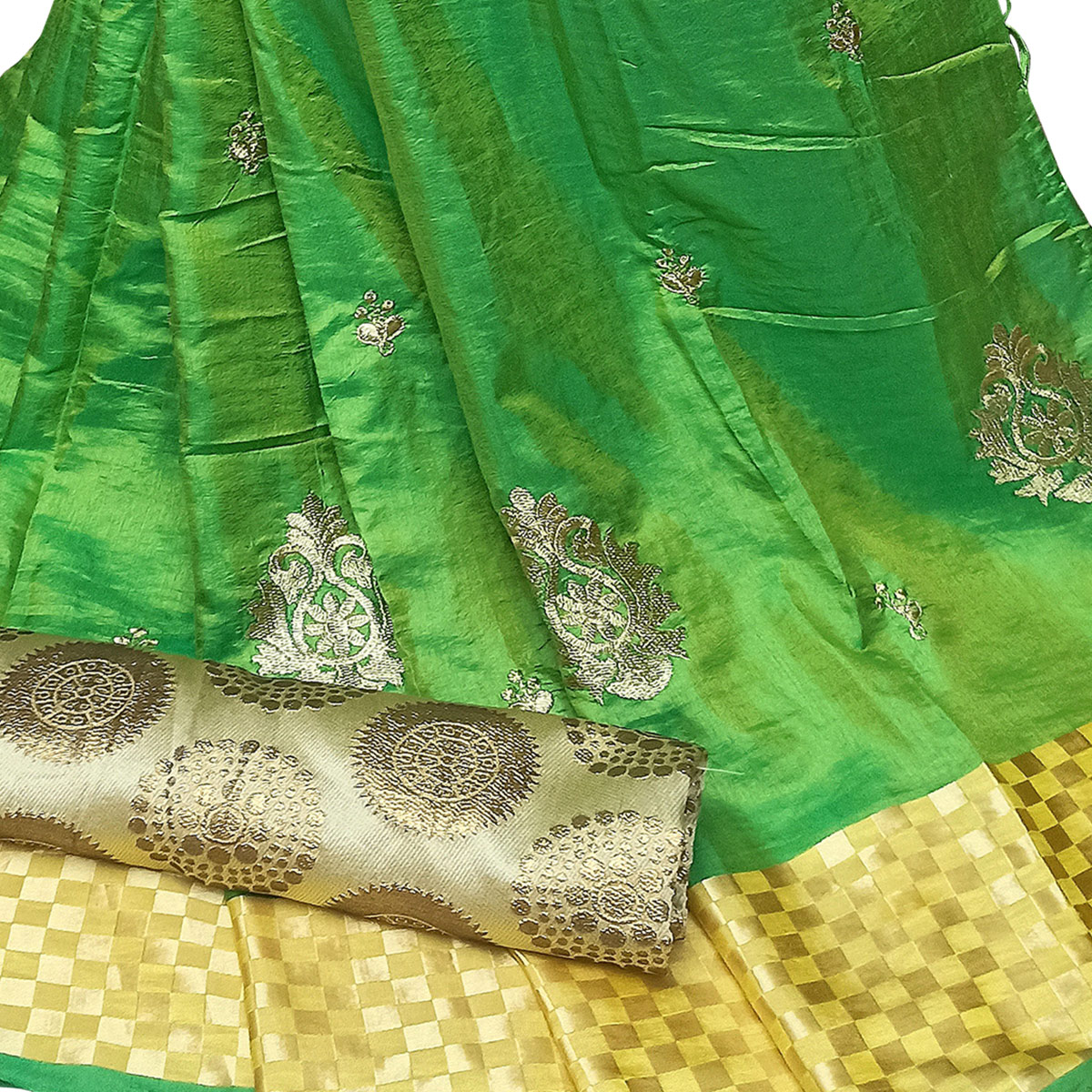 Arresting Green Colored Party Wear Embroidered Nylon Sana Silk Saree With Tassels