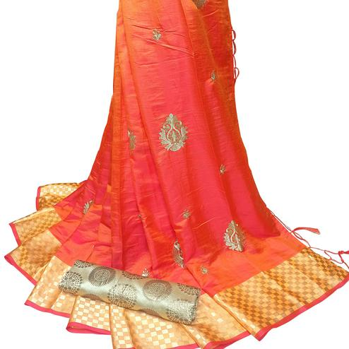Desirable Orange Colored Party Wear Embroidered Nylon Sana Silk Saree With Tassels
