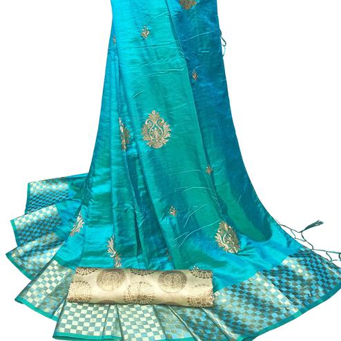 Exotic Blue Colored Party Wear Embroidered Nylon Sana Silk Saree With Tassels