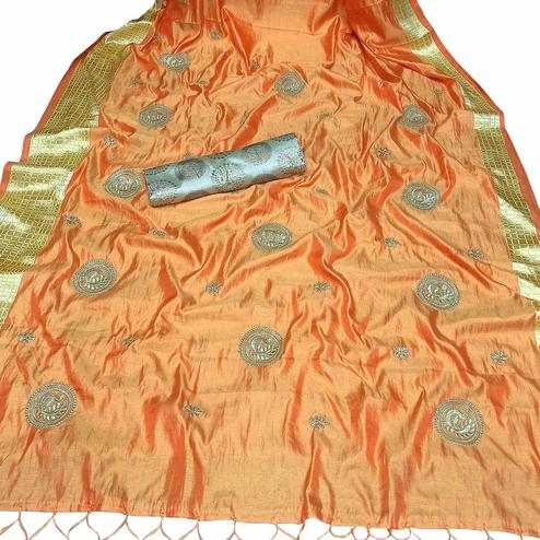 Glorious Light Orange Colored Party Wear Embroidered Nylon Sana Silk Saree With Tassels