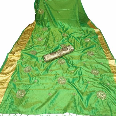 Graceful Green Colored Party Wear Embroidered Nylon Sana Silk Saree With Tassels