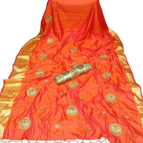 Blooming Orange Colored Party Wear Embroidered Nylon Sana Silk Saree With Tassels