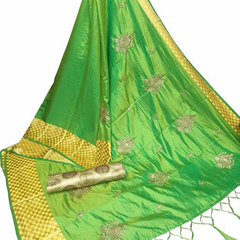 Opulent Green Colored Party Wear Embroidered Nylon Sana Silk Saree With Tassels