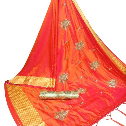 Energetic Orange Colored Party Wear Embroidered Nylon Sana Silk Saree With Tassels