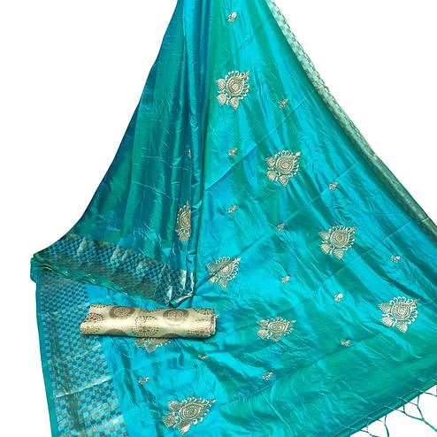 Glowing Blue Colored Party Wear Embroidered Nylon Sana Silk Saree With Tassels