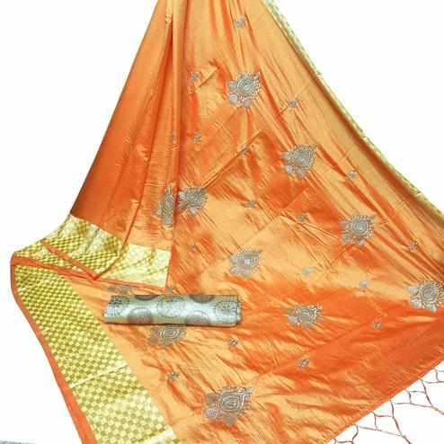 Gleaming Light Orange Colored Party Wear Embroidered Nylon Sana Silk Saree With Tassels