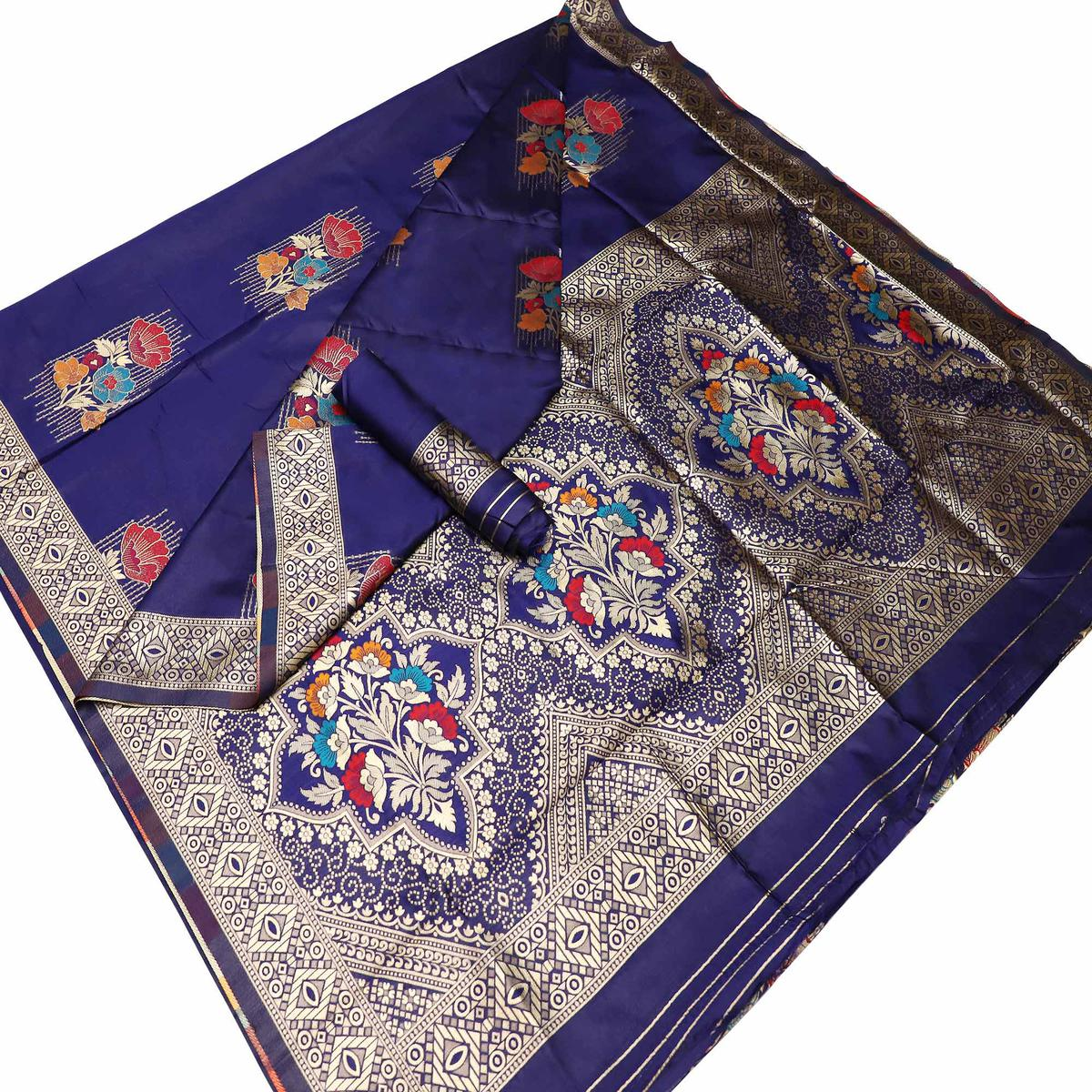 Appealing Navy Blue Colored Festive Wear Woven Banarasi Silk Saree