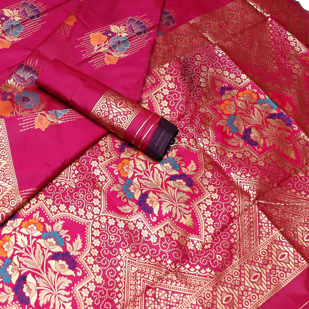 Entrancing Pink Colored Festive Wear Woven Banarasi Silk Saree