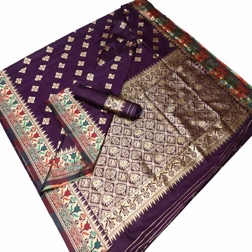 Unique Purple Colored Festive Wear Woven Banarasi Silk Saree