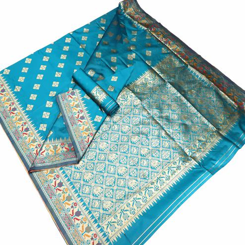 Hypnotic Blue Colored Festive Wear Woven Banarasi Silk Saree