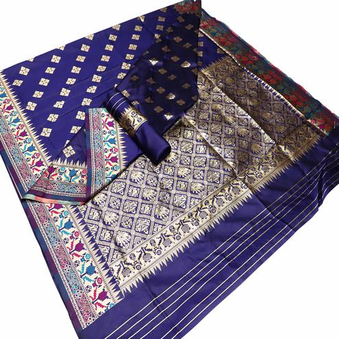 Flattering Navy Blue Colored Festive Wear Woven Banarasi Silk Saree