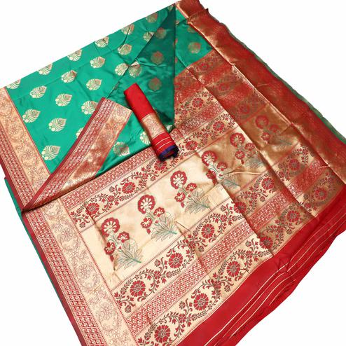 Alluring Green Colored Festive Wear Woven Banarasi Silk Saree