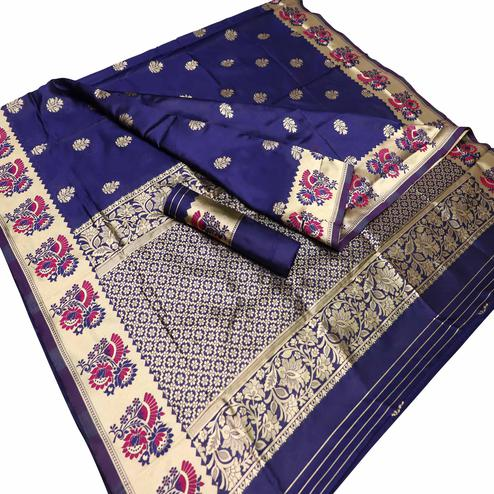 Blissful Navy Blue Colored Festive Wear Woven Kota Silk Saree