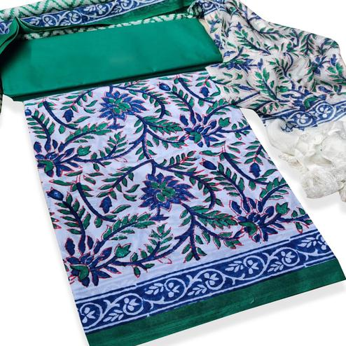 IRIS - White-Green Colored Casual Wear Pure Hand Block Printed Cotton Dress Material