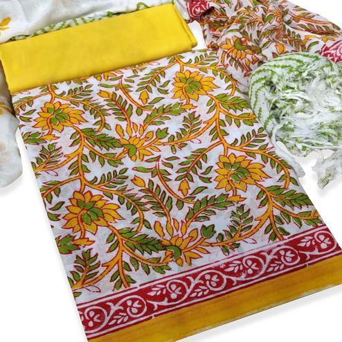 IRIS - White-Yellow Colored Casual Wear Pure Hand Block Printed Cotton Dress Material