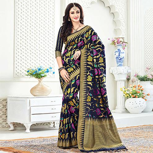 Beautiful Navy Festive Wear Woven Raw Silk Saree