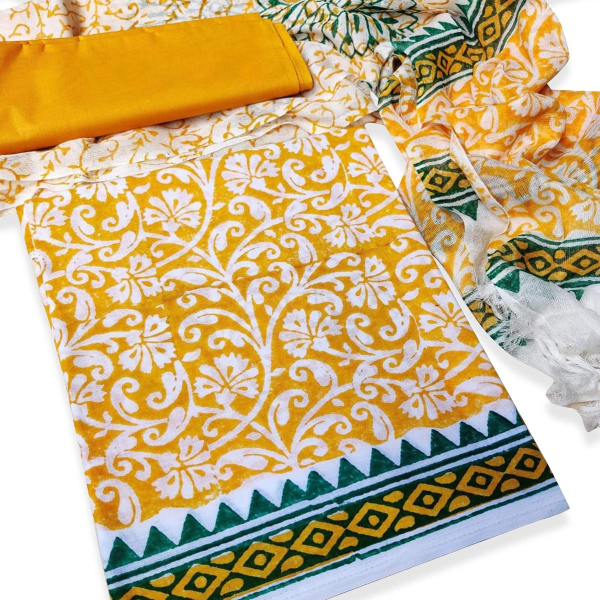 IRIS - Yellow Colored Casual Wear Pure Hand Block Printed Cotton Dress Material