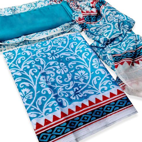 IRIS - Sky Blue Colored Casual Wear Pure Hand Block Printed Cotton Dress Material