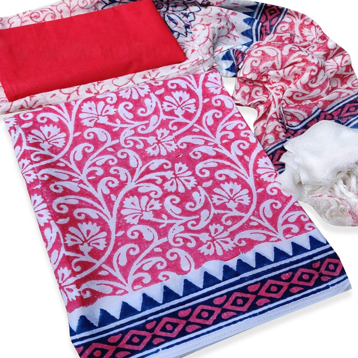 IRIS - Pink Colored Casual Wear Pure Hand Block Printed Cotton Dress Material