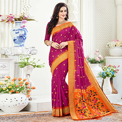 Appealing Magenta Festive Wear Woven Raw Silk Saree