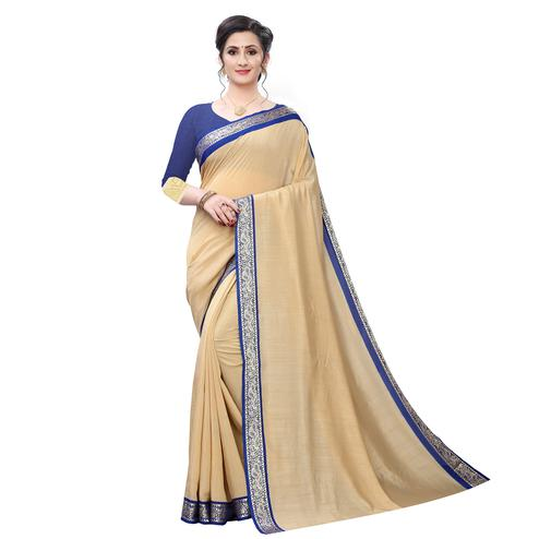 Classy Beige Colored Festive Wear Woven Vichitra Silk Saree