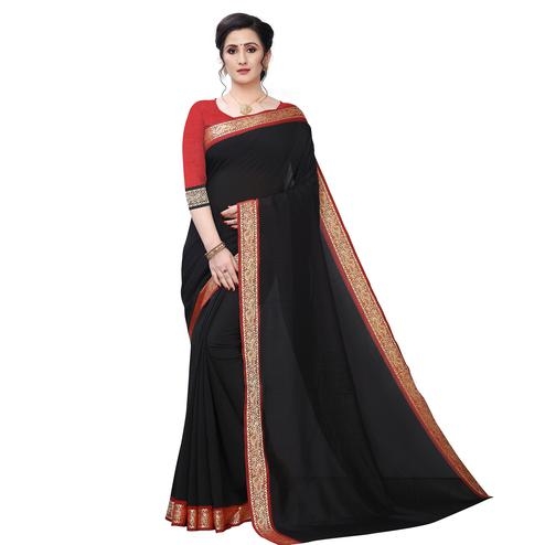 Prominent Black Colored Festive Wear Woven Vichitra Silk Saree